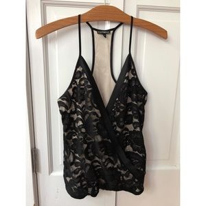 Express Black Lace and Nude Racer Back Cami XS
